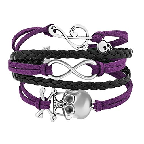 Uniqueen, braccialetto avvolgente intrecciato, in pelle, con simbolo dell'infinito, teschio e chiave musicale, da donna o ragazza e acciaio inossidabile, cod. br_hsj466