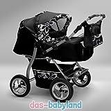 Akjax 'Gemini' 40 Farben mit Sonnenschirm + 2 Babyschalen - Zwillingskinderwagen - Geschwisterwagen - Zwillingsbuggy - Babyschale - Nr.10 schwarz / flower