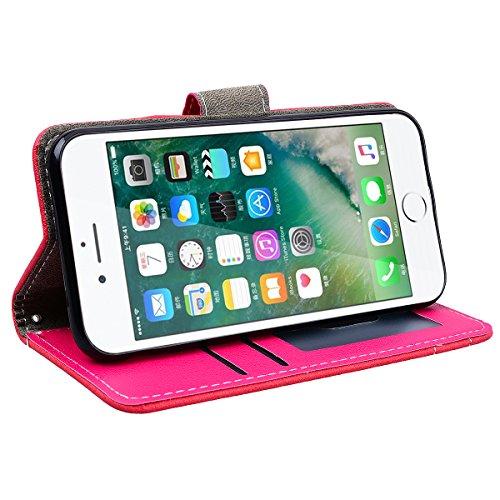 GrandEver iPhone 7 Hülle mit kartenfach Ledertasche Schutzhülle Retro Tasche Lederhülle Scratch Ledercase Umschlag Stil Wallet Flip Case Cover mit TPU Weiche Silikon Innere Handytasche für iPhone 7 Ha Rot