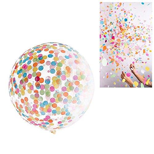 (Deggodech 4pcs 36 inch Giant Konfetti Luftballons Gefüllte Transparent Latex Ballons Gefüllt Farbige Confetti mit Ballonpumpe für Weihnachts Geburtstagsfeier Hochzeit Party Feier Dekorationen (36 Zoll))