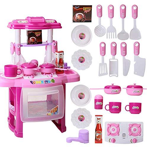 ug Küche Spielset Happy Little Chef Rollenspiel mit echtem Wasser, Licht und Soundeffekten, 47 cm Höhe, großes Kleinkind Kinder Spielzeug, Plastik, Rose, 37x21x47cm ()