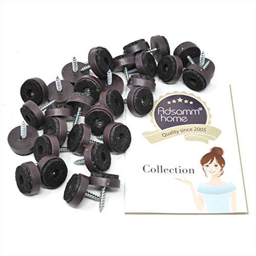 Adsamm 32 x Filzgleiter mit Schraube | Ø 20 mm | Braun | rund | Möbelgleiter zum Schrauben in Premium-Qualität