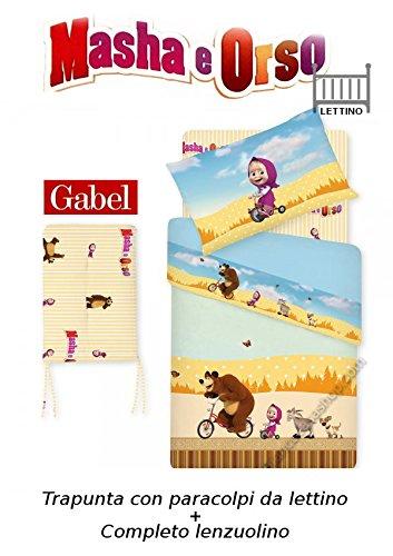 Trapunta lettino con paracolpi + completo lenzuolino gabel masha e orso art. bicycles