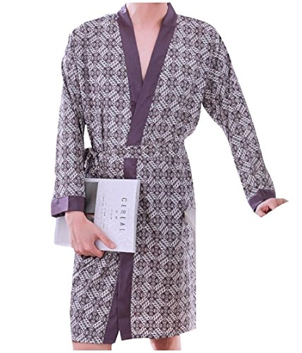 CuteRose Men's Stylish Imitated Silk with Belt Printing Bathrobe 8 One-Size