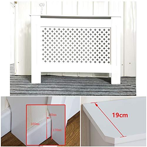 Hedii Cache-radiateur Anti-poussière en Bois Peint Blanc Facile à Installer, Bois Dense, Blanc, Medium(82x112x19) cm