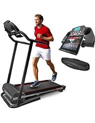 Sportstech F10 Laufband mit Smartphone App Steuerung, Schmiersystem, 18°-Steigung in 3 Stufen, Pulsgurt inkl, Bluetooth, 1PS, 10 km/h, für GEH- und Lauftraining mit 13 Programmen - kompakt klappbar
