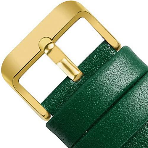 12 Farben Uhrenarmbänder für Lederarmband mit Schnellverschluss, echtes Silber- oder Uhrenarmband Henziy-Uhrenarmbänder-Band13713 Goldschnalle 18mm, 20mm, 22mm, 424mm - Seite Schnalle Schließung
