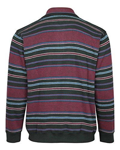 MIAN-MODE Langarm-Polo, Herren Poloshirt IM Ringelook, Baumwollmischung Weinrot