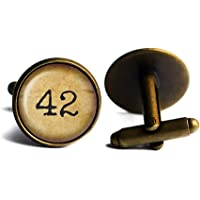 Meaning of Life Forty-Two 42 Sinn des Lebens Antike Bronze Manschettenknöpfe