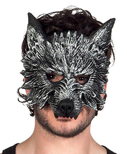 Boland - maschera mezzo-viso lupo mannaro werewolf mens, grigio, taglia unica, 97516