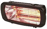 Elemento radiante: Lampada IR con innesto R7S. Certificazione: IP54 (resistente all'acqua). Alimentazione: 230 V - 50 Hz. Potenza effettiva: 1300 W. Superficie irraggiata: 25 mq. Dimensioni: 40x18x17 cm. Peso: 2,85 kg. Colore: nero.