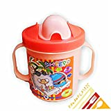 Pawan Plastic Cute stylish touch me baby Bpa free Unbreakable multicoloured. baby /infant pp water/juice training gravity sipper cup with handles & dust free cover lid