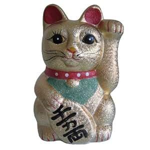 Tirelire Chat Prospérité japonais Maneki Neko doré