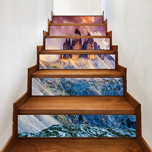 ahliwei Selbstklebende 3D Treppenaufkleber Vulkanausbruch DIY Renovierte Treppenpaste Wasserdicht Aus Viskose Wandaufkleber 00 x 18cm x 6 Stück - Renovierte Leben