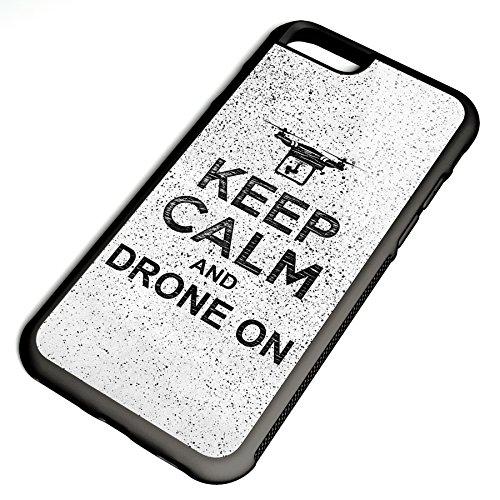 Smartcover Case Keep Calm and drone on z.B. für Iphone 5 / 5S, Iphone 6 / 6S, Samsung S6 und S6 EDGE mit griffigem Gummirand und coolem Print, Smartphone Hülle:Samsung S6 EDGE weiss Iphone 6 / 6S schwarz