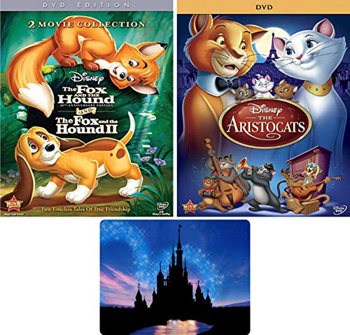 The Fox and the Hound 1-2 and The Aristocats: Disney Family 3 Movie DVD Collection with Bonus Art Card