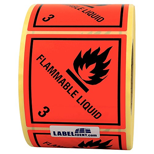 Labelident Gefahrgutaufkleber (100 x 100 mm) - Klasse 3 - Entzündbare flüssige Stoffe, flammable liquid - 3-1000 Gefahrgutetiketten, Papier, rot, permanent haftend
