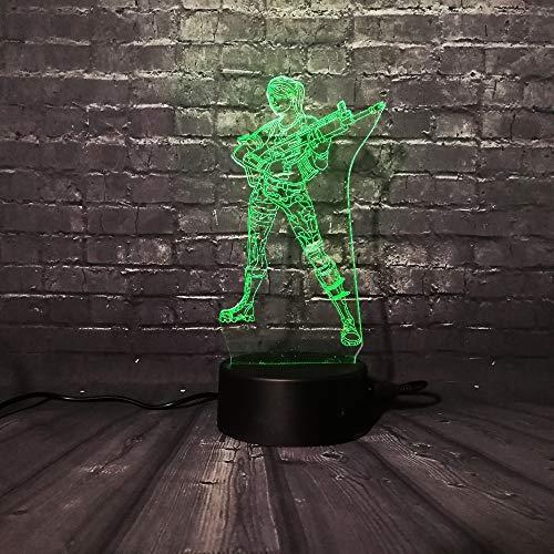 wangZJ Lámpara de ilusión 3d / 7 colores cambiantes Luz de noche táctil/Decoración de dormitorio de bebé/Regalo de niños/Luz de noche/Pistola fresca Gir
