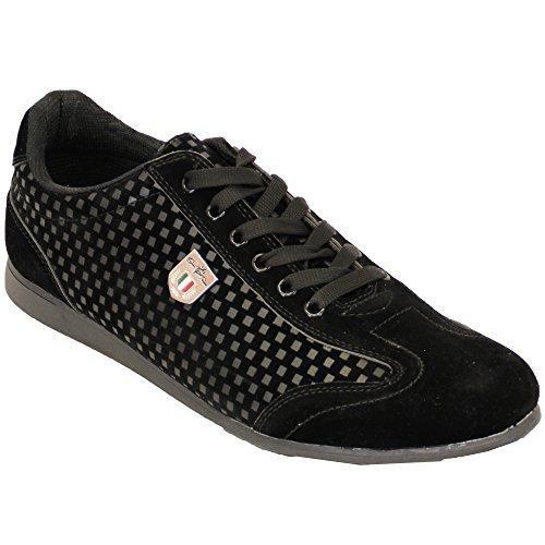 Baskets Hommes Baskets Chaussures À Lacets Verni Cuir Suédé Look Peau De Crocodile Tamboga Noir - G65968