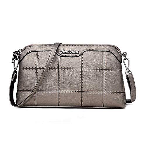 Skyinbags Women's Schultertasche Fashion Soft Pu Plaid Einfachheit, Golden