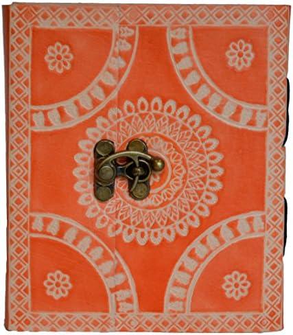 Mad Over Shopping, Cadeau en cuir indien peint à la main orange Floral strié Mini épais Journal intime B0793NBVBJ | Perpignan