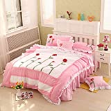 LY&HYL Cotton lace bed skirt Wedding Gifts Bed Linen Bedclothes 4Pcs Queen
