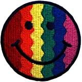 Rainbow sonriente Patch Kids '7 x 7 cm' - Parche Parches Termoadhesivos Parche Bordado Parches Bordados Parches Para La Ropa Parches La Ropa Termoadhesivo Apliques Iron on Patch Iron-On Apliques