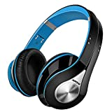 Bluetooth Headphones Wireless Mpow Over Ear Headphones, Soft Earmuffs Foldable Wireless Headphones, Built-In Microphone For Mobile Phone Tv Pc Laptop, Blue & Black (Storage Bag Included)