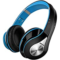 Bluetooth Headphones Mpow Over Ear Headphones, Foldable Stereo Wireless Headphones Ultra Soft Earmuffs, Built-in Mic for Mobile Phone TV PC Laptop, Blue & Black (Headphones Storage Bag Included)