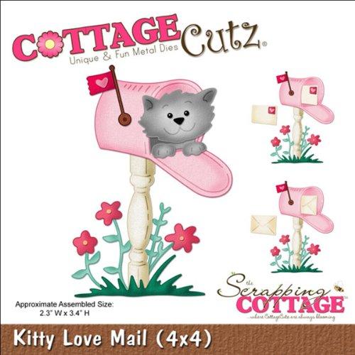 Cottage Cutz 4-Zoll-Kitty Love Mail Sterben Schnitte mit Schaumstoff - Cutz Cottage