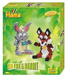 Hama 10.3247 - Juego de Cuentas de Mosaico 3D de Conejo y Zorro, tamaño único
