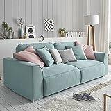 Modernes Design Big Sofa WEEKEND aquamarin Schlaffunktion mit Bettkasten und Kissen