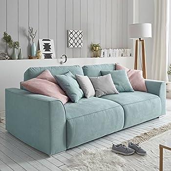 Bigsofa Valeska Grau Beige Couch 310x135 cm mit 12 Kissen