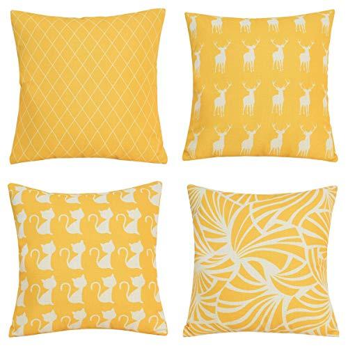 lovelihome Überwurf Kissen Bezüge für Couch, Floral Geometrie Muster Home Outdoor Dekorative Sofa Kissen Fall 45,7x 45,7cm 4Stück 18 X 18 inches gelb Muster