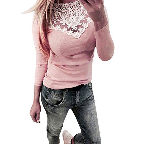Bekleidung Kolylong® Damen Elegant V-Ausschnitt Spitze Blusen Vintage Schulterfrei Sweatshirt Festliche Oberteile Langarm Shirt Spitzenbluse Slim Fit Basic Shirt Pullover Pulli Top (Pink-b, S) (Ärmel Lange Tees Leben Gut)