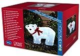 Konstsmide 6124-203 LED Acryl Eisbär stehend mit roter Schleife und 40 kalt weißen Dioden, 24V Außentrafo