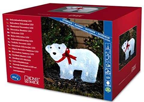 Konstsmide Polar Bear with a Red Ribbon 3D Christmas Decoration