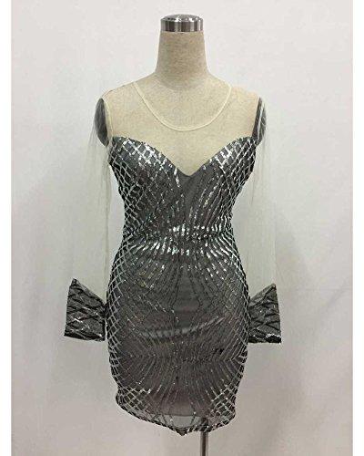 Damen Geometrische Pailletten Abendkleider Nackt Kurzen Ärmel Trägerlos Rockkleider Aspicture