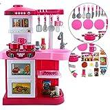 """FEI Babyspielzeug Kleinkind Küche Spielset """"My Little Chef"""" mit 35 Zubehör Rollenspiel in RED Pink Frühe Erziehung ( Farbe : Pink )"""