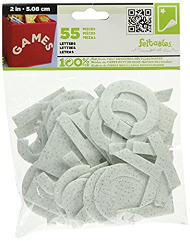 New Image Group Felt Feltables Letters and Numbers 2-Inch-Glimmer White
