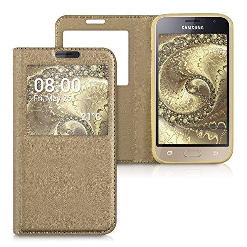 kwmobile Funda para Samsung Galaxy J1 (2016) - Carcasa de [Cuero sintético] con [Ventana] - Case con Solapa [Dorado]