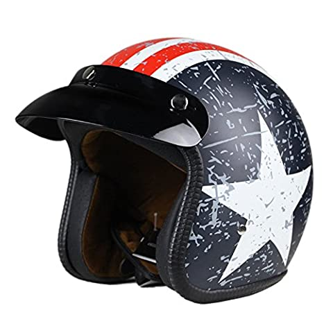 Woljay Moto Casque de casque moto jet vintage scooter Touring