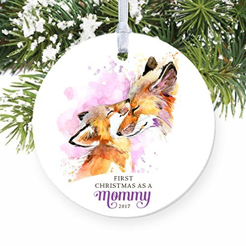 Rutehiy Ornament Crafts for Kids First Christmas as a Mommy New Mother Baby Fox Christbaumschmuck Dekoration für Zuhause