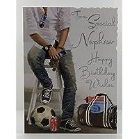 Nephew Birthday Card - (JJ3643) - Stool - Illustrated - From The Velvet Range - Embossed & Foil Finish