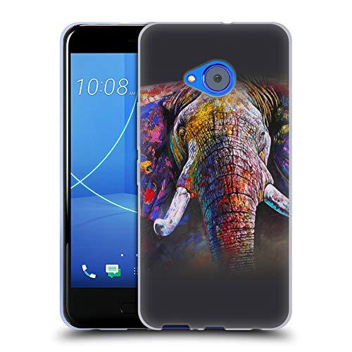 Head Case Designs Offizielle Graeme Stevenson Elefant 3 Farbige Tierwelt Soft Gel Huelle kompatibel mit HTC U11 Life