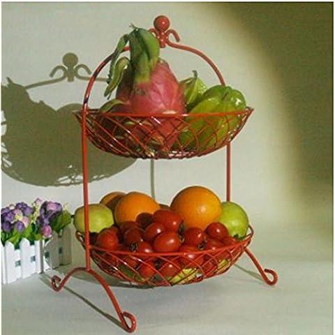 TBQING Soggiorno di stile europeo frutta cesto frutta piastra moda creativo dessert due ciotola pane cestino cucina mensola rack . red