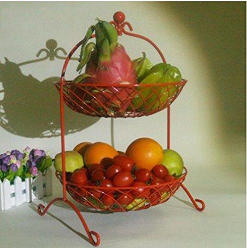 WSS Soggiorno di stile europeo frutta cesto frutta piastra moda creativo dessert due ciotola pane cestino cucina mensola rack . red