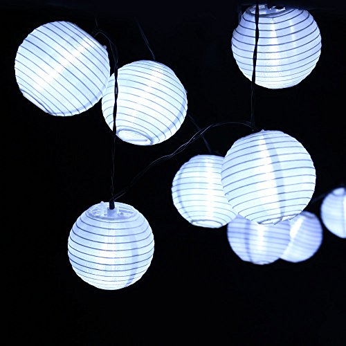 (Qedertek Solar Lampion Lichterkette Außen 4.8 Meter 20 LED Laternen 2 Lichtarten Modi Wasserdicht mit Lichtsensor Beleuchtung Deko für Garten, Hof, Weihnachten, Party, Fest, Terrassen Deko (Weisse))