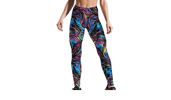 Legging de Sport Femme Jogging Running Yoga Fitness Gym Pantalon Longue Amincissant Imprim/é Motif Color/é