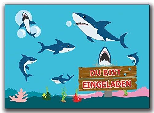 Einladungskarten Kindergeburtstag Hai Haie Einladung Geburtstag Kinder im Set - 8 Stück Schwimmen Schwimmbad Poolparty Aquarium Fisch Unterwasserwelt Muschen